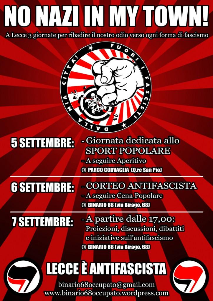 Programma tre giorni antifascista a Lecce.